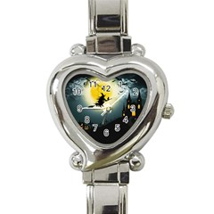 Halloween Landscape Heart Italian Charm Watch by Valentinaart