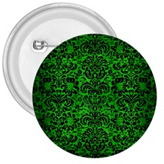 Damask2 Black Marble & Green Brushed Metal (r) 3  Buttons by trendistuff
