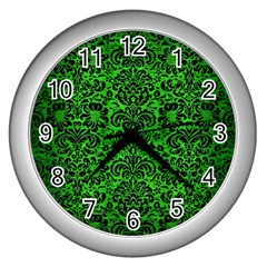 Damask2 Black Marble & Green Brushed Metal (r) Wall Clocks (silver)  by trendistuff