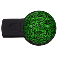 Damask2 Black Marble & Green Brushed Metal (r) Usb Flash Drive Round (4 Gb) by trendistuff