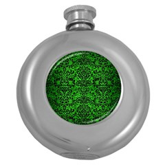 Damask2 Black Marble & Green Brushed Metal (r) Round Hip Flask (5 Oz) by trendistuff