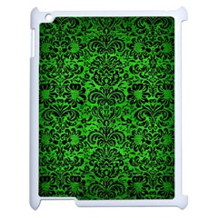 Damask2 Black Marble & Green Brushed Metal (r) Apple Ipad 2 Case (white) by trendistuff