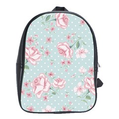 Shabby Chic,pink,roses,polka Dots School Bag (large) by 8fugoso