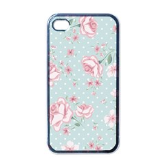 Shabby Chic,pink,roses,polka Dots Apple Iphone 4 Case (black) by 8fugoso