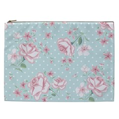 Shabby Chic,pink,roses,polka Dots Cosmetic Bag (xxl)  by 8fugoso