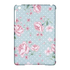 Shabby Chic,pink,roses,polka Dots Apple Ipad Mini Hardshell Case (compatible With Smart Cover) by 8fugoso