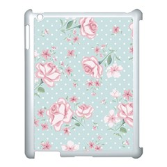 Shabby Chic,pink,roses,polka Dots Apple Ipad 3/4 Case (white) by 8fugoso