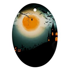 Halloween Landscape Ornament (oval) by Valentinaart
