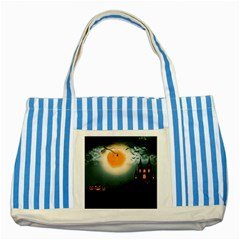 Halloween Landscape Striped Blue Tote Bag by Valentinaart
