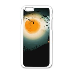 Halloween Landscape Apple Iphone 6/6s White Enamel Case by Valentinaart