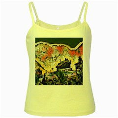 Modern Abstract Painting Yellow Spaghetti Tank by 8fugoso