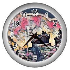 Modern Abstract Painting Wall Clocks (silver)  by 8fugoso
