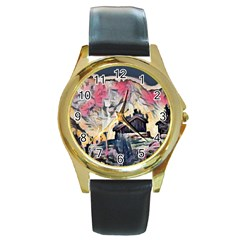 Modern Abstract Painting Round Gold Metal Watch by 8fugoso