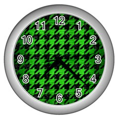 Houndstooth1 Black Marble & Green Brushed Metal Wall Clocks (silver)  by trendistuff