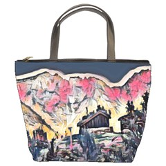 Modern Abstract Painting Bucket Bags by 8fugoso