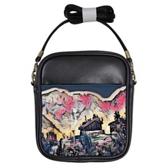 Modern Abstract Painting Girls Sling Bags by 8fugoso
