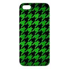 Houndstooth1 Black Marble & Green Brushed Metal Apple Iphone 5 Premium Hardshell Case by trendistuff