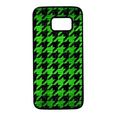 Houndstooth1 Black Marble & Green Brushed Metal Samsung Galaxy S7 Black Seamless Case by trendistuff
