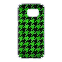 Houndstooth1 Black Marble & Green Brushed Metal Samsung Galaxy S7 Edge White Seamless Case by trendistuff