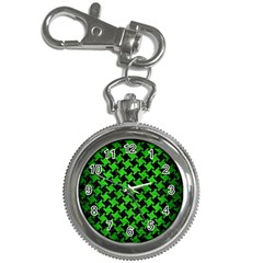 Houndstooth2 Black Marble & Green Brushed Metal Key Chain Watches by trendistuff