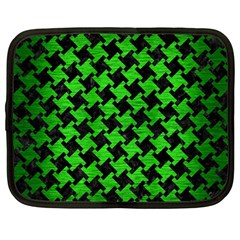 Houndstooth2 Black Marble & Green Brushed Metal Netbook Case (large) by trendistuff