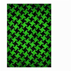 Houndstooth2 Black Marble & Green Brushed Metal Small Garden Flag (two Sides) by trendistuff