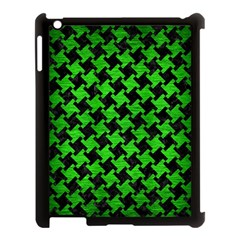 Houndstooth2 Black Marble & Green Brushed Metal Apple Ipad 3/4 Case (black) by trendistuff