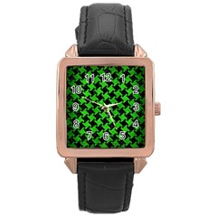 Houndstooth2 Black Marble & Green Brushed Metal Rose Gold Leather Watch  by trendistuff