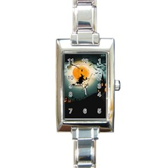 Halloween Landscape Rectangle Italian Charm Watch by Valentinaart