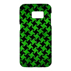 Houndstooth2 Black Marble & Green Brushed Metal Samsung Galaxy S7 Hardshell Case  by trendistuff