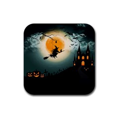 Halloween Landscape Rubber Coaster (square)  by Valentinaart