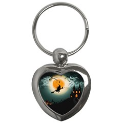 Halloween Landscape Key Chains (heart)  by Valentinaart