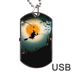 Halloween Landscape Dog Tag Usb Flash (one Side) by Valentinaart