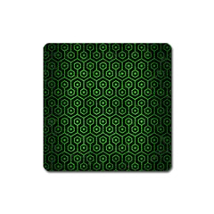 Hexagon1 Black Marble & Green Brushed Metal Square Magnet by trendistuff