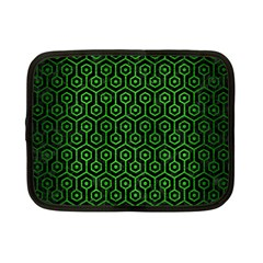 Hexagon1 Black Marble & Green Brushed Metal Netbook Case (small)  by trendistuff