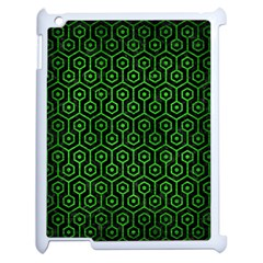 Hexagon1 Black Marble & Green Brushed Metal Apple Ipad 2 Case (white) by trendistuff