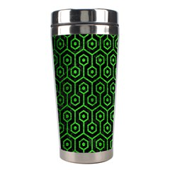 Hexagon1 Black Marble & Green Brushed Metal Stainless Steel Travel Tumblers by trendistuff