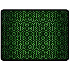 Hexagon1 Black Marble & Green Brushed Metal Double Sided Fleece Blanket (large)  by trendistuff