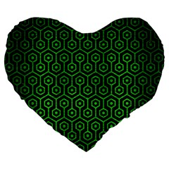 Hexagon1 Black Marble & Green Brushed Metal Large 19  Premium Flano Heart Shape Cushions