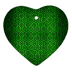 Hexagon1 Black Marble & Green Brushed Metal (r) Ornament (heart) by trendistuff