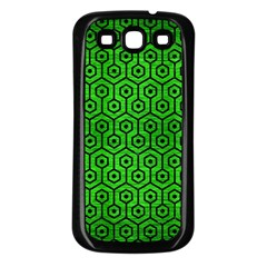 Hexagon1 Black Marble & Green Brushed Metal (r) Samsung Galaxy S3 Back Case (black) by trendistuff