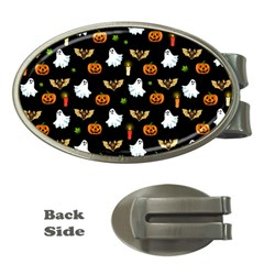 Halloween Pattern Money Clips (oval)  by Valentinaart