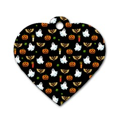 Halloween Pattern Dog Tag Heart (one Side) by Valentinaart