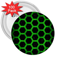 Hexagon2 Black Marble & Green Brushed Metal 3  Buttons (100 Pack)  by trendistuff