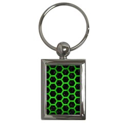 Hexagon2 Black Marble & Green Brushed Metal Key Chains (rectangle)