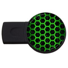 Hexagon2 Black Marble & Green Brushed Metal Usb Flash Drive Round (4 Gb) by trendistuff