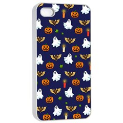 Halloween Pattern Apple Iphone 4/4s Seamless Case (white) by Valentinaart