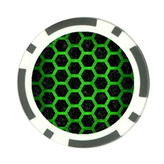 Hexagon2 Black Marble & Green Brushed Metal Poker Chip Card Guard (10 Pack) by trendistuff