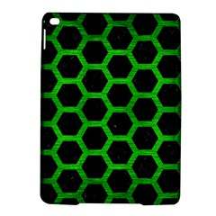 Hexagon2 Black Marble & Green Brushed Metal Ipad Air 2 Hardshell Cases by trendistuff