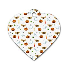 Halloween Pattern Dog Tag Heart (two Sides) by Valentinaart